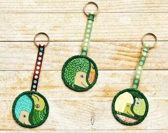 Key ring key chain key fob holder hedgehog eye nose face animal spine green orange yellow ribbon kids kawaii Father's Day housewarming gift
