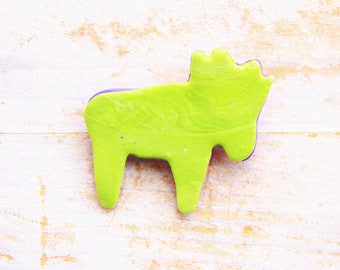Brooch statement jewelry kids pin charm deer reindeer large playful lime green purple violet polymer clay kawaii plastic kids gift