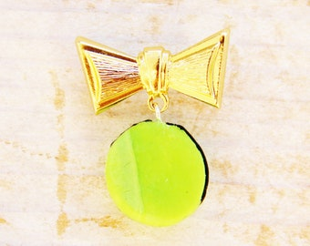 "Brooch jewelry pin bow tie macaron polymer clay charm lime green brass metal gold 1"" knot food charm unique Mother's Day gift kids gift"