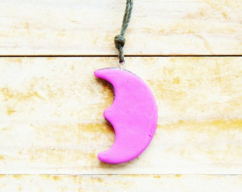 Necklace pendant jewelry kids charm moon playful pink silver gray polymer clay kawaii plastic kids gift statement jewelry