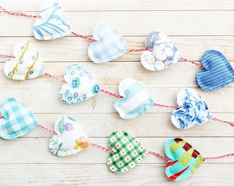 Heart chain garland ornament 3 opt decor bunting rose blue white green shabby chic door hanger housewarming baby shower hostess Mother's Day