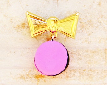 "Brooch jewelry pin bow tie macaron polymer clay charm pink black brass metal gold 1"" knot unique Mother's Day gift kids hand made gift"