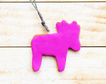 Necklace pendant jewelry kids charm deer reindeer large playful pink gold polymer clay kawaii plastic kids gift statement jewelry