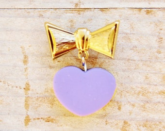 "Brooch jewelry pin bow tie heart polymer clay charm purple violet yellow silver brass metal gold 1"" knot unique Mother's Day gift kids gift"