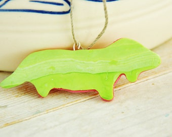 Necklace pendant kids jewelry dachshund dog teckel charm wiener sausage daxie coral lime green polymer clay plastic kawaii statement gift