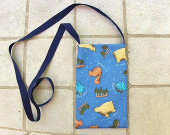 Cell phone case cover mobile phone bag pouch pocket purse wallet with strap bear squirrel owl tree blue brown travelers neck pouch kids gift