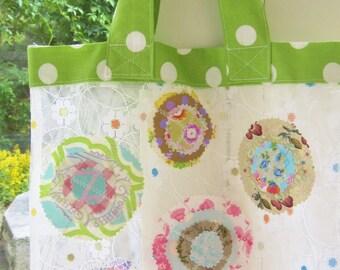 Beach bag tote bag shopping bag grocery bag shopper nylon tulle transparent green red white applique circle flower boho Mother's Day gift