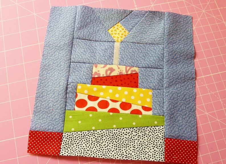 Birthday Cake Quilt Block Pattern Pdf Instant Download Modern Etsy