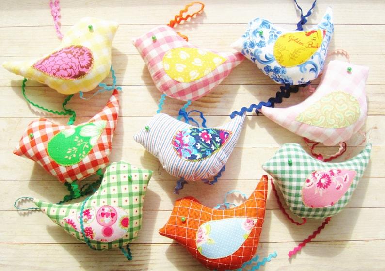 Bird decor soft toy ornament baby nursery decor green pink bead eyes kids door hanger housewarming hostess baby shower hostess Easter gift