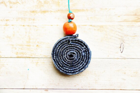 Necklace pendant jewelry denim wooden bead blue green modern statement turquoise cord upcycled recycled jeans cotton bohemian unisex gift