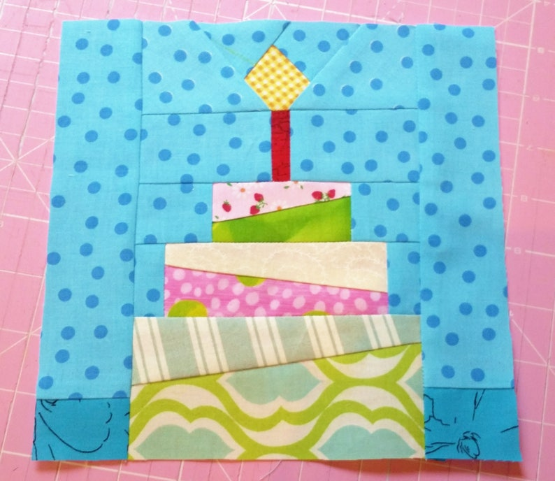 Birthday Cake Quilt Block Pattern PDF Instant Download Modern
