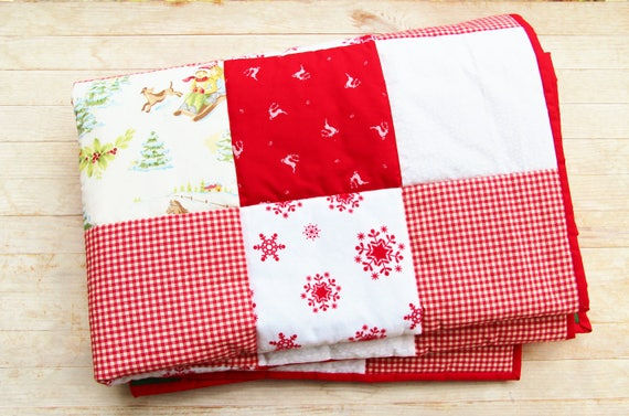 Quilt Patchwork Throw Christmas Holiday Decor Bed Sofa Blanket Etsy Interesting Red And White Christmas Throw Blanket