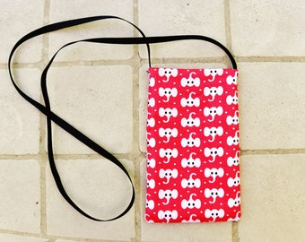 Cell phone case cover mobile phone bag pouch pocket purse wallet with strap elephants dots red white black travelers neck pouch kids gift