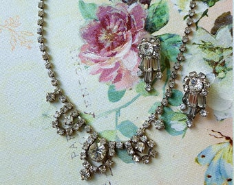 Vintage Rhinestone Jewelry Set, Drop Necklace and Clip-on Earrings, Formal Rhinestone Set, Gift for Her