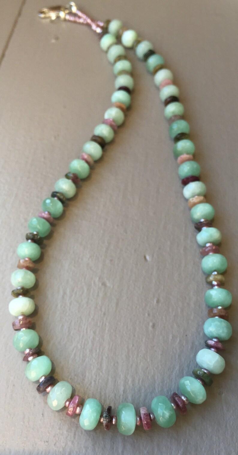 Chrysoprase /& Tourmaline Gemstone Designer Necklace