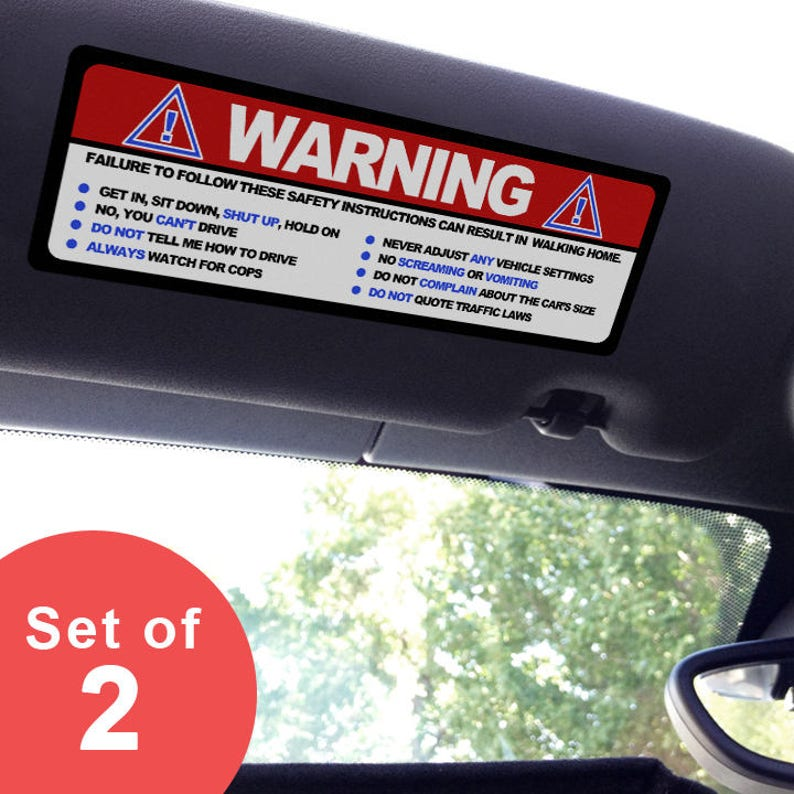 Visor stickers Set Large Funny Safety Instructions for  1dd7ce460d8