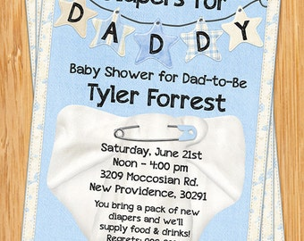Diapers for dad poker pilsners pampers party man shower etsy diapers for daddy baby shower invitation filmwisefo