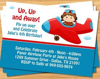 Airplane birthday party invitation etsy airplane birthday party invitation filmwisefo