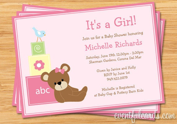 Pink Teddy Bear Baby Shower Invitation Print Yourself By