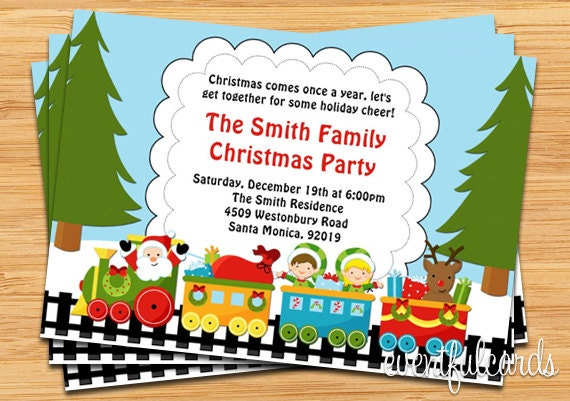 Santa Claus Train Christmas Party Invitation Customize To
