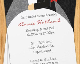 Bridal Shower Invitation - Tux and Wedding Dress Red Bouquet