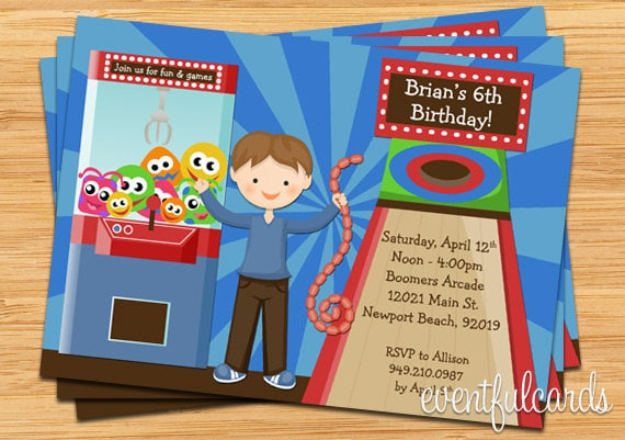 Kids Arcade Party Birthday Invitation