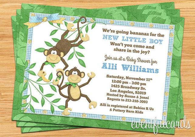 Mono lindo Banana bebé ducha invitación | Etsy