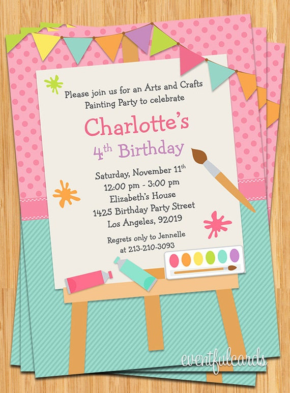 art painting birthday party invitation for kids printable by
