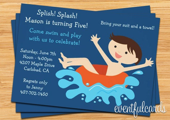 Kids Pool Party Birthday Invitation
