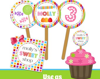 Candy Birthday Party Circles - Cupcake Toppers - Stickers - Printable