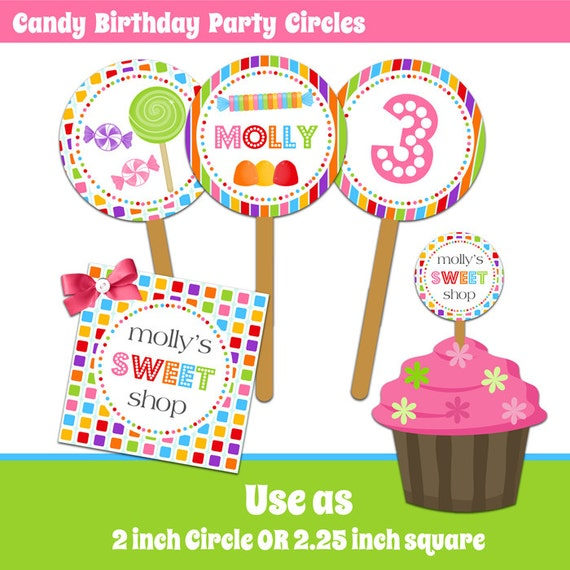 Items Similar To Candy Birthday Party Circles