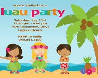 Kids Luau Birthday Party Invitation Package