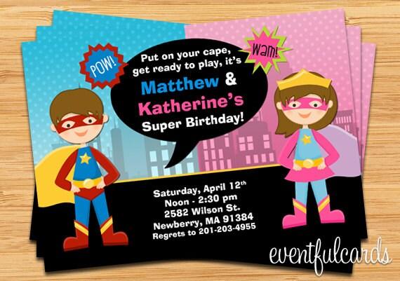 Kids Superhero And Supergirl Joint Birthday Party Invitation Etsy