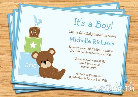 Blue teddy bear baby shower invitation baby blocks and bird by il570xn filmwisefo