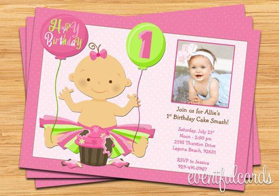 1st Birthday Cake Smash Party Invitation