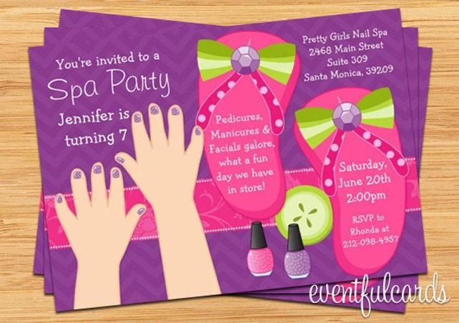 Mani pedi spa party kids birthday invitation etsy image 0 filmwisefo