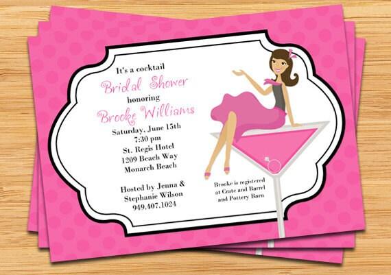 items similar to cocktail bridal shower invitation on etsy