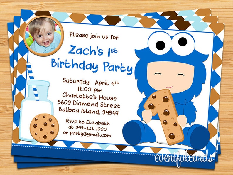 Cookie Monster 1st Birthday Party Invitation