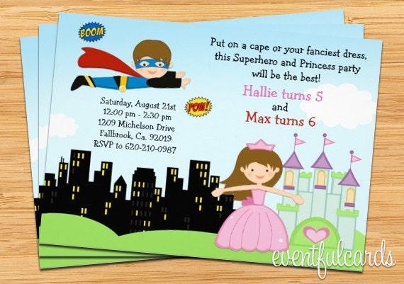 superhero and princess birthday party invitation printable by