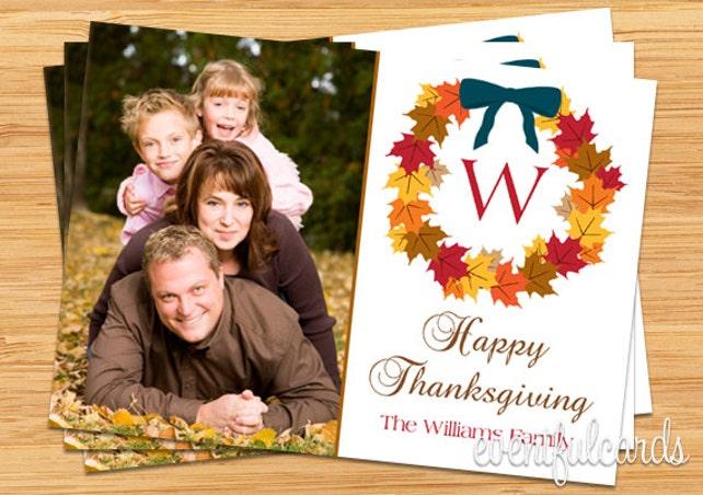Thanksgiving Card Monogram Photo Card - Printable