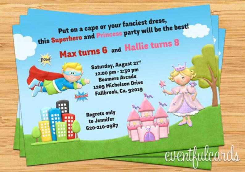 Digital Printable Kids Superhero and Princess Joint Birthday Party Invitation