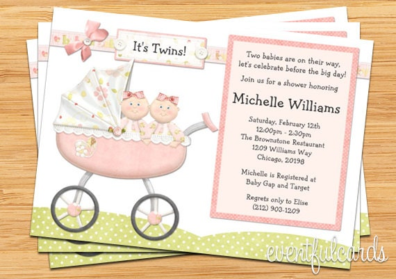 Twin Girls Baby Shower Invitation By Eventfulcards Catch My Party