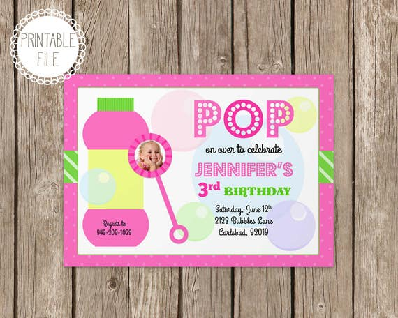 Bubbles birthday party invitation personalized etsy image 0 filmwisefo