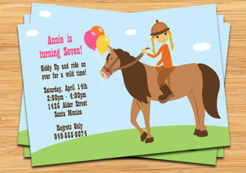 Horseback Riding Birthday Party Invitation Etsy