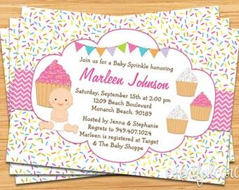 Cupcake Baby Sprinkle Shower Invitation Pink Baby Grl