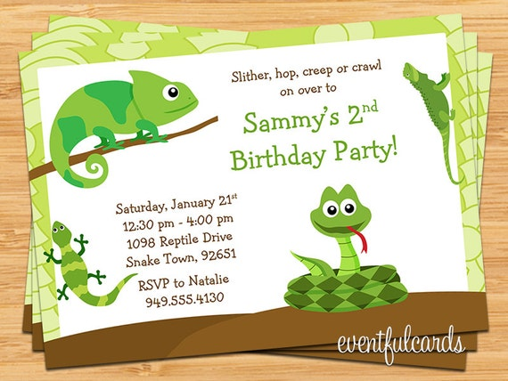 Reptile Birthday Party Invitation By Eventfulcards Catch My Party
