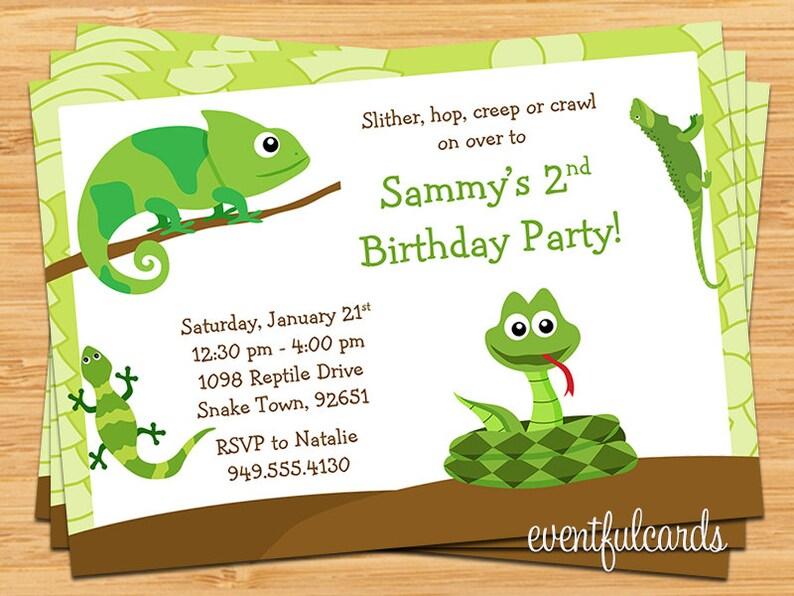 Reptile Birthday Party Invitation Etsy