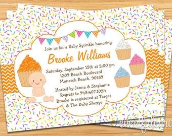 Cupcake Baby Sprinkle Shower Invitation