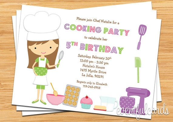 kids baking birthday party invitation printable etsy