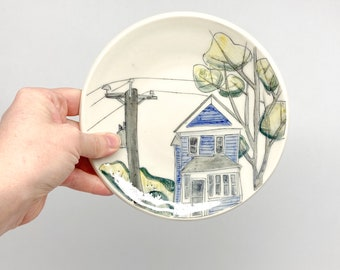 house and tree treat plate